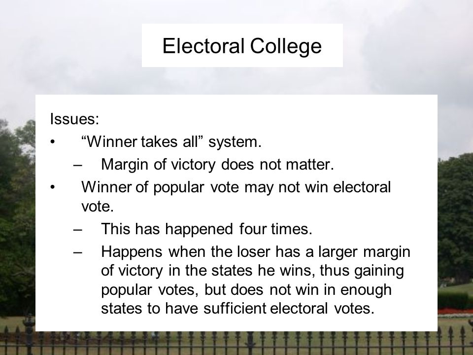 a discussion of the issues related to the electoral college The electoral college is outdated and undemocratic by juan hernandez in electoral reform nov 30, 2016 as i will discuss possible courses of action and what the future might look like for the electoral college related articles read now join the discussion - please be relevant and.