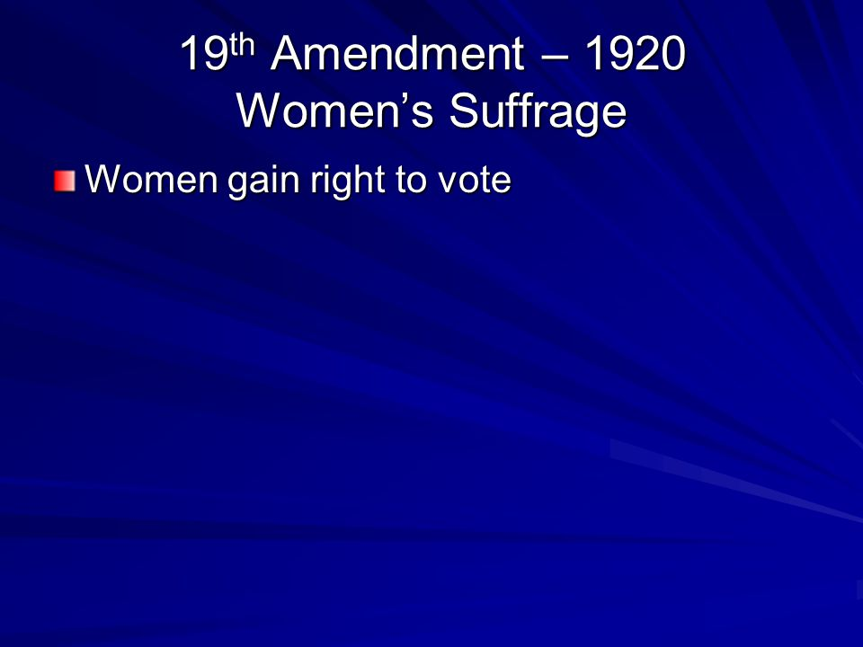 19th Amendment – 1920 Women's Suffrage