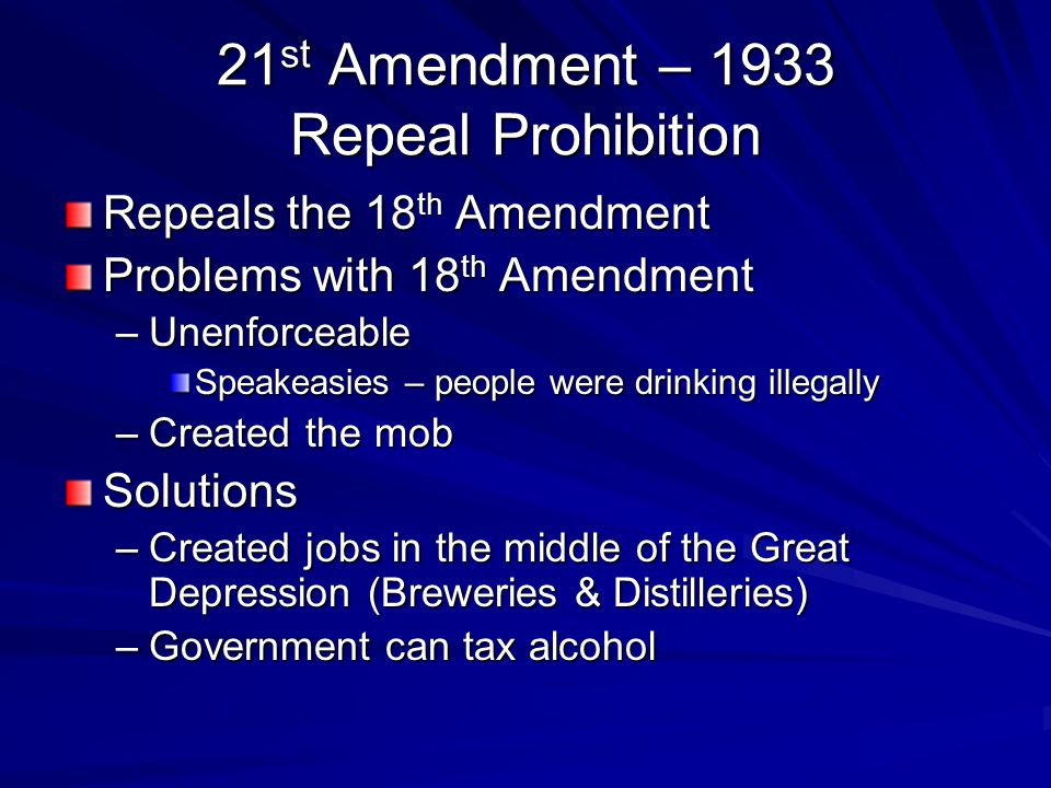 21st Amendment – 1933 Repeal Prohibition