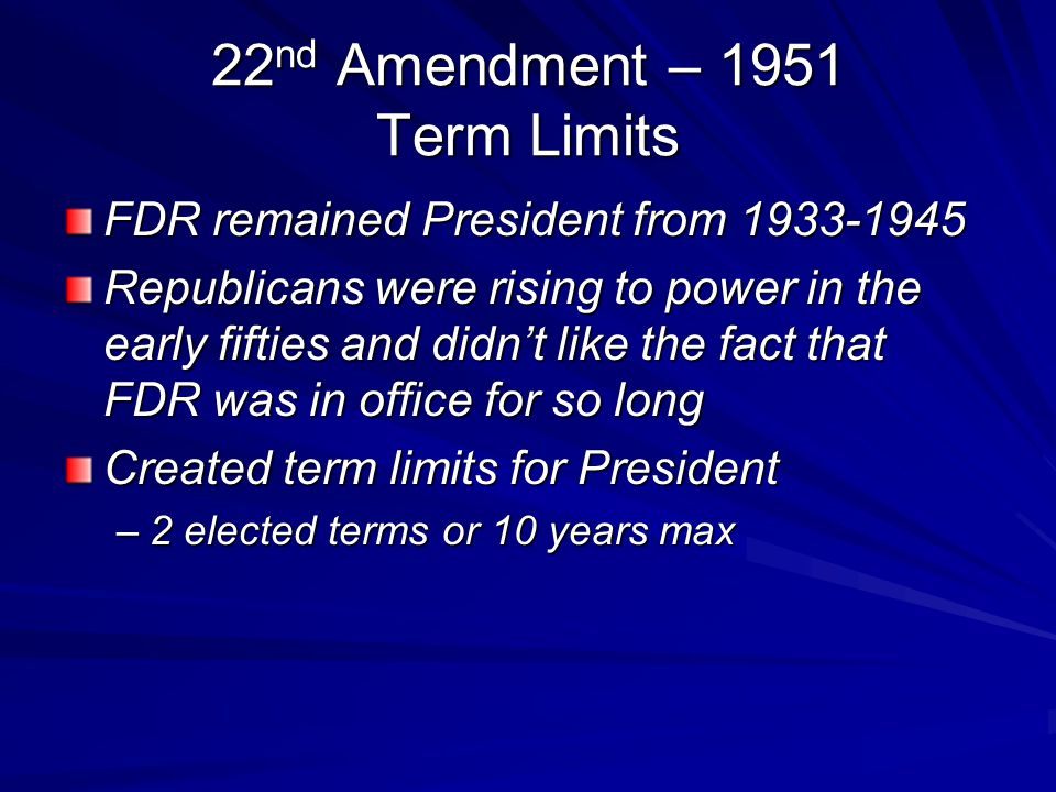 22nd Amendment – 1951 Term Limits