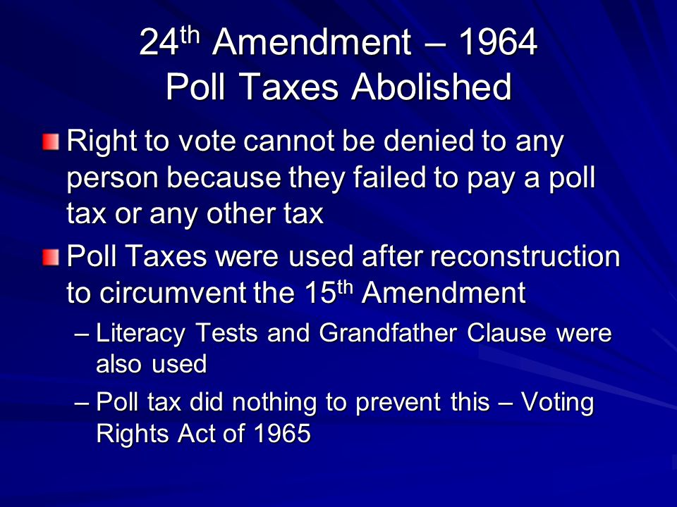 24th Amendment – 1964 Poll Taxes Abolished