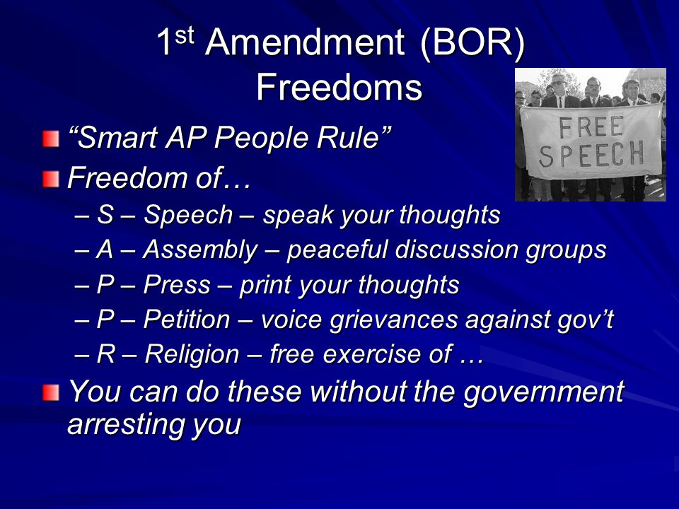 1st Amendment (BOR) Freedoms