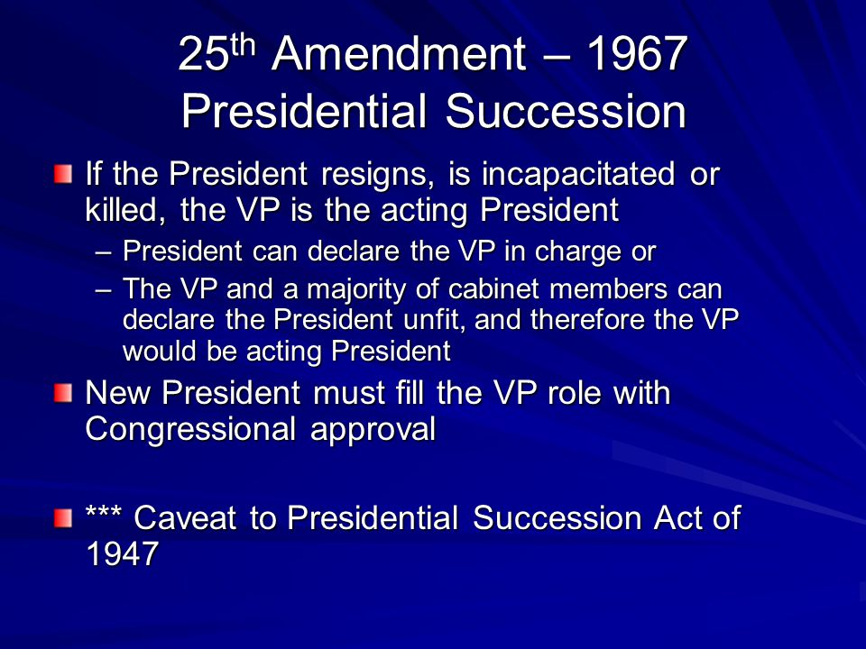 25th Amendment – 1967 Presidential Succession