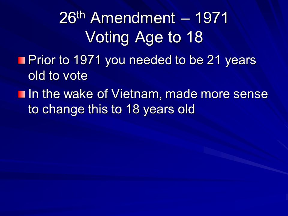26th Amendment – 1971 Voting Age to 18