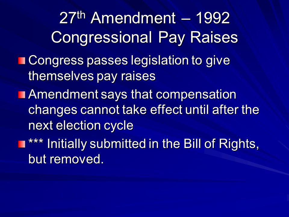 27th Amendment – 1992 Congressional Pay Raises