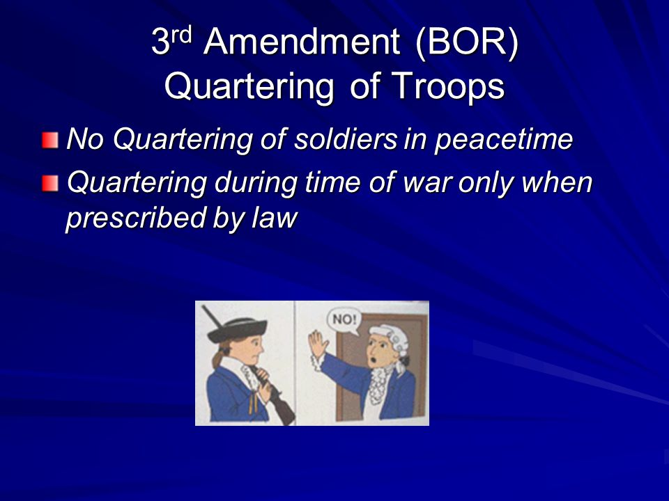 3rd Amendment (BOR) Quartering of Troops