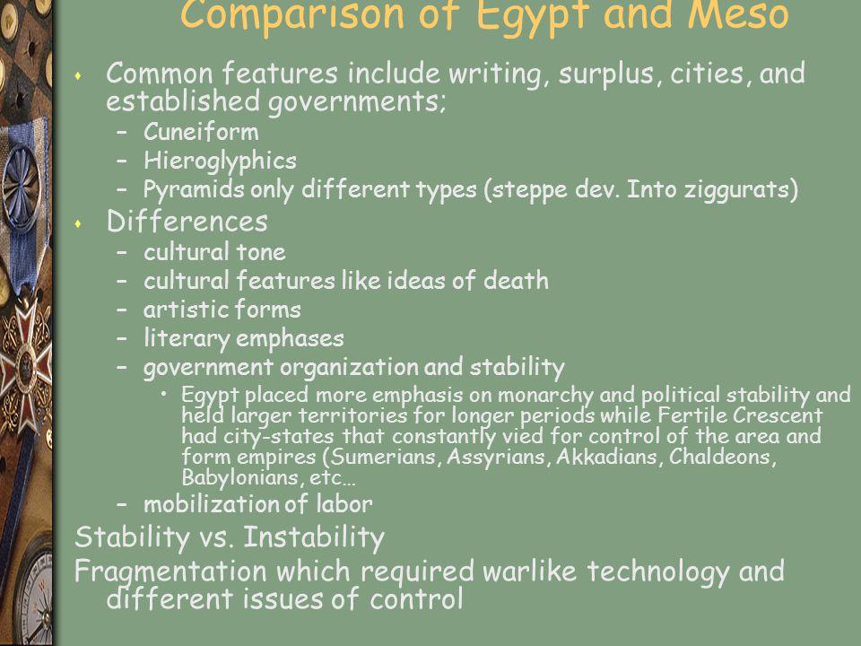 Comparison of Egypt and Meso