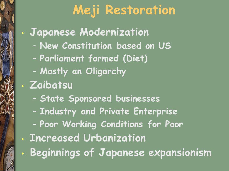 Meji Restoration Japanese Modernization Zaibatsu