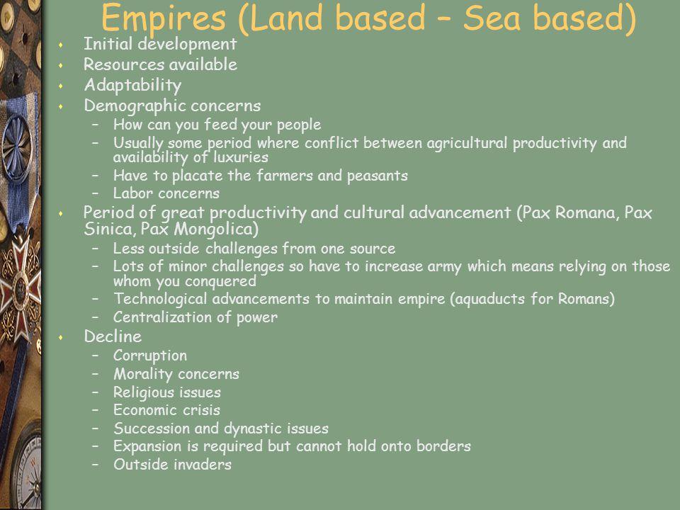 Empires (Land based – Sea based)