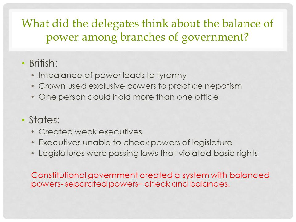 What did the delegates think about the balance of power among branches of government