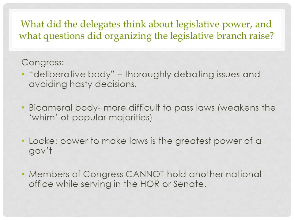 What did the delegates think about legislative power, and what questions did organizing the legislative branch raise