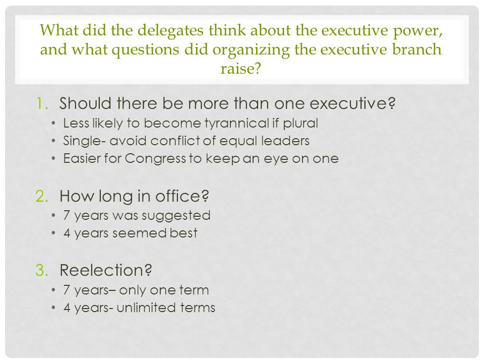 Should there be more than one executive