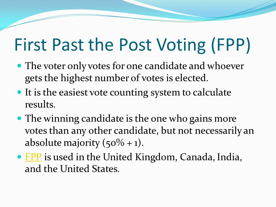 first-past-the-post system essay First past the post - advantages and disadvantages highly detailed with examples and edexcel created by: chloelawrence created on: 10-01-14 12:22 first past the post - advantages and disadvantages fptp is extremely discriminative against smaller parties due to our 'two party system.