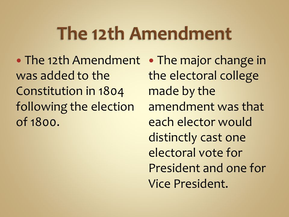 The 12th Amendment The 12th Amendment was added to the Constitution in 1804 following the election of