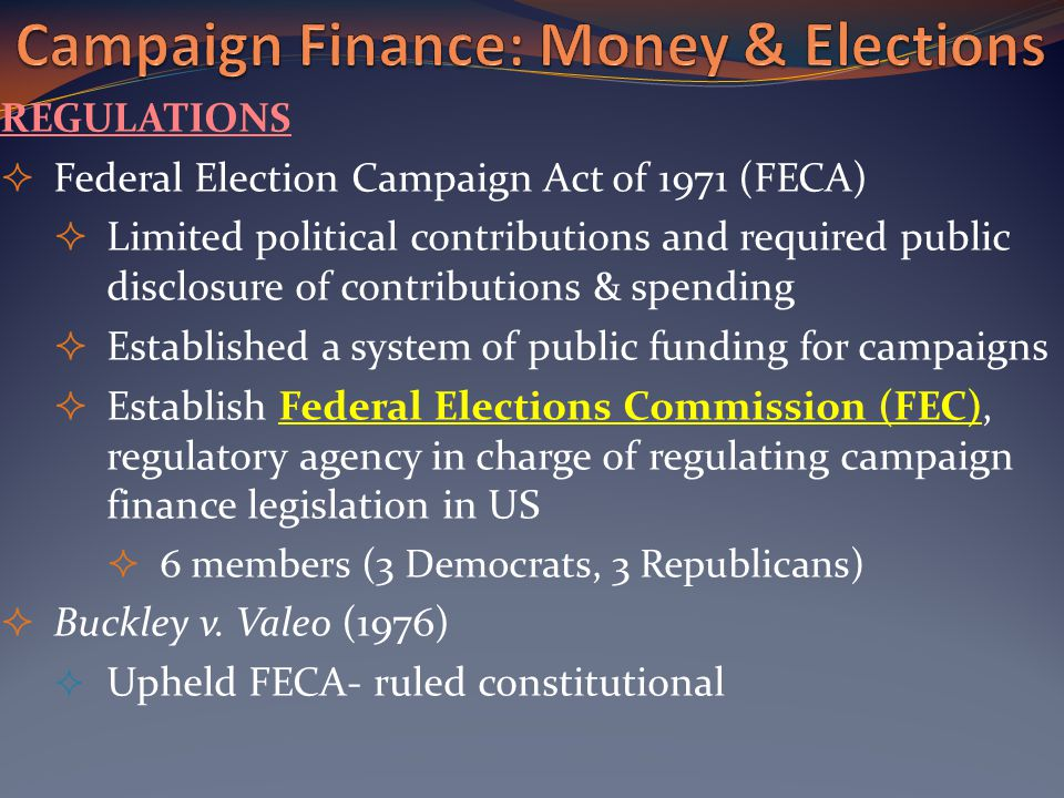 a discussion on the campaign finance system Start studying campaign finance learn vocabulary, terms, and more with specific and limited contributions regulated by federal election commission and campaign based more on demographic shifts than on shocks to the political system spot ads tv advertising on behalf of a.