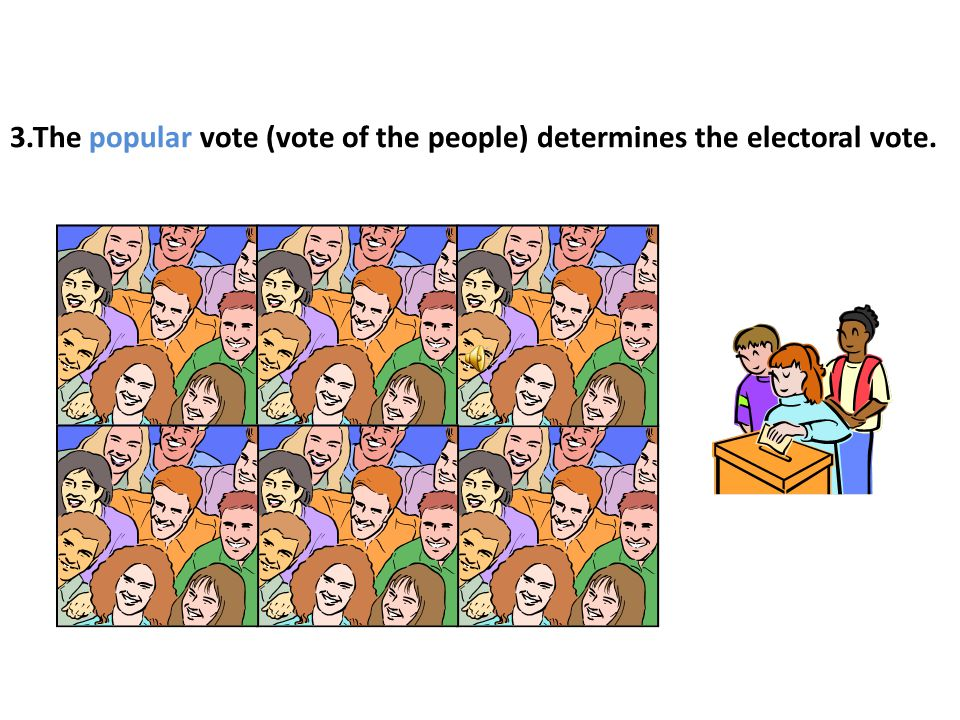 3.The popular vote (vote of the people) determines the electoral vote.
