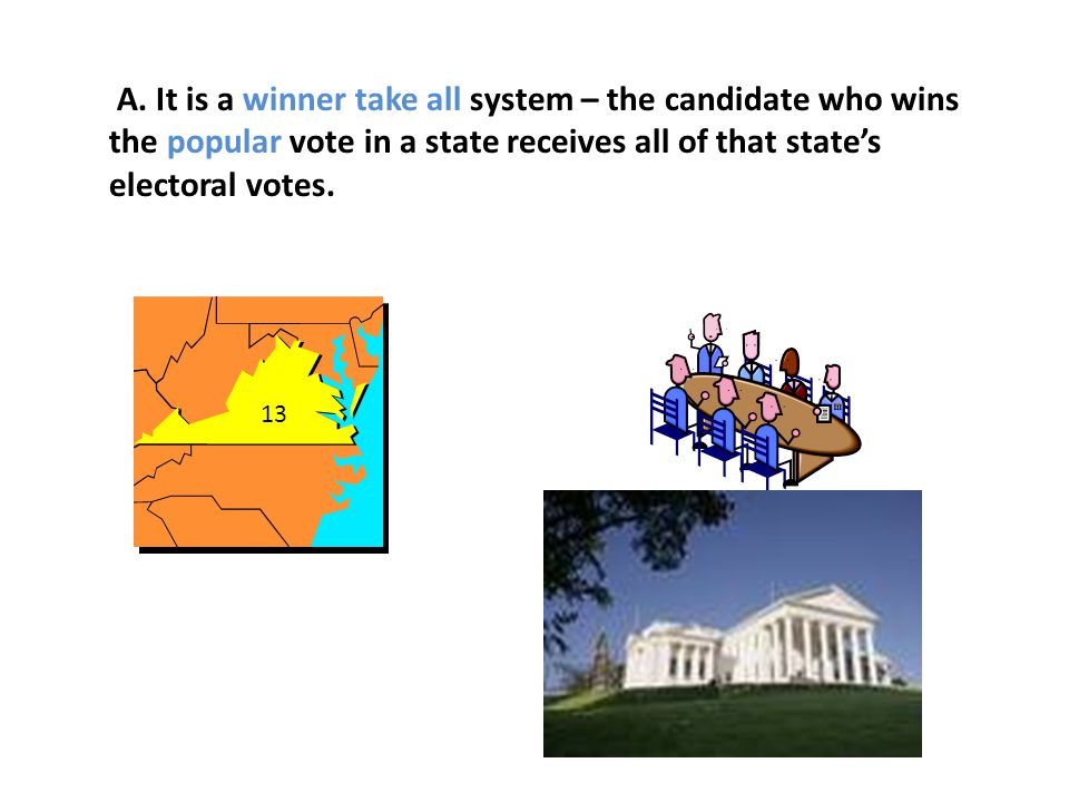 A. It is a winner take all system – the candidate who wins the popular vote in a state receives all of that state's electoral votes.