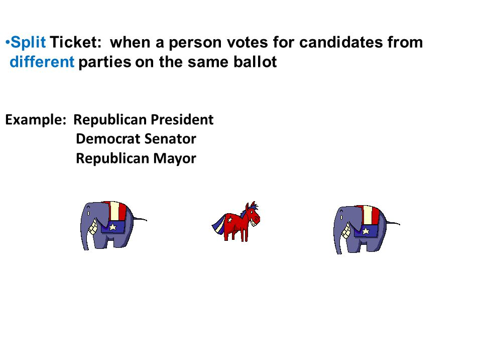 Split Ticket: when a person votes for candidates from