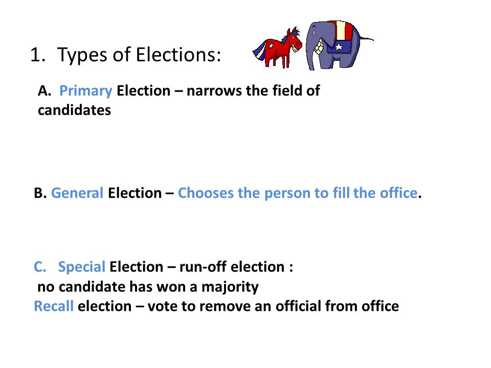 Types of Elections: A. Primary Election – narrows the field of candidates. B. General Election – Chooses the person to fill the office.