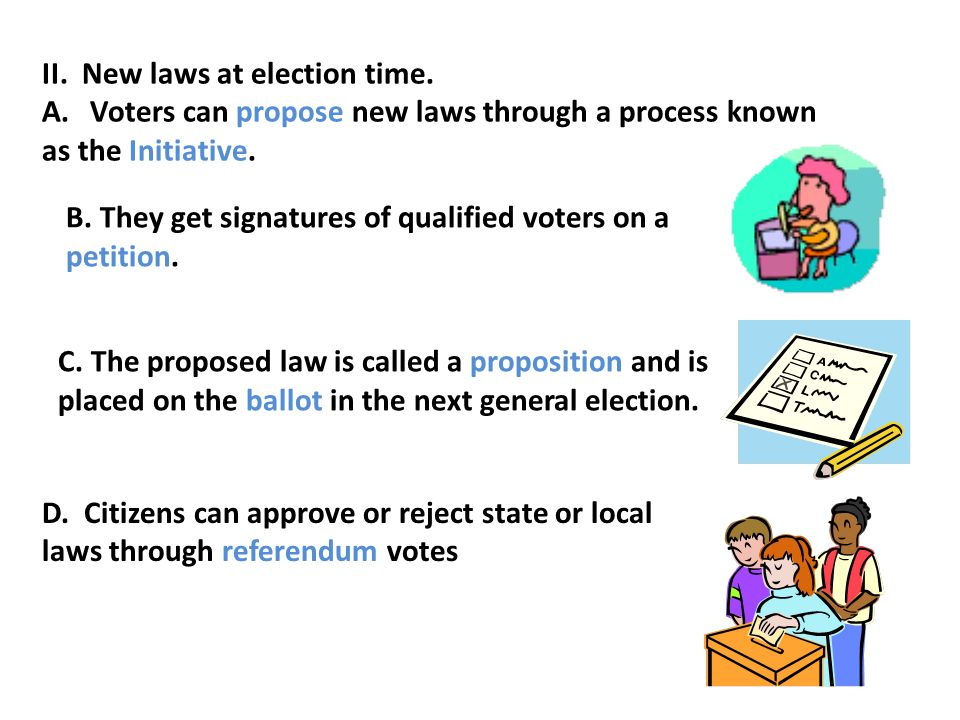 II. New laws at election time.