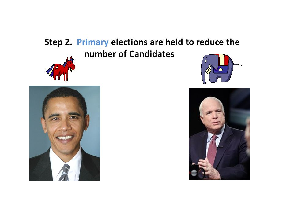Step 2. Primary elections are held to reduce the