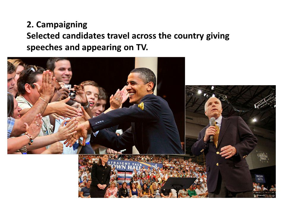 2. Campaigning Selected candidates travel across the country giving speeches and appearing on TV.