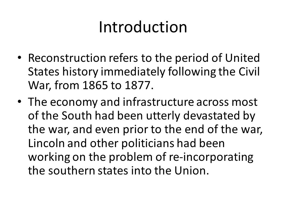 a history of reconstruction period in united states Us history reconstruction uploaded by jaderainbow related interests reconstruction era southern united states the reconstruction period in us history.