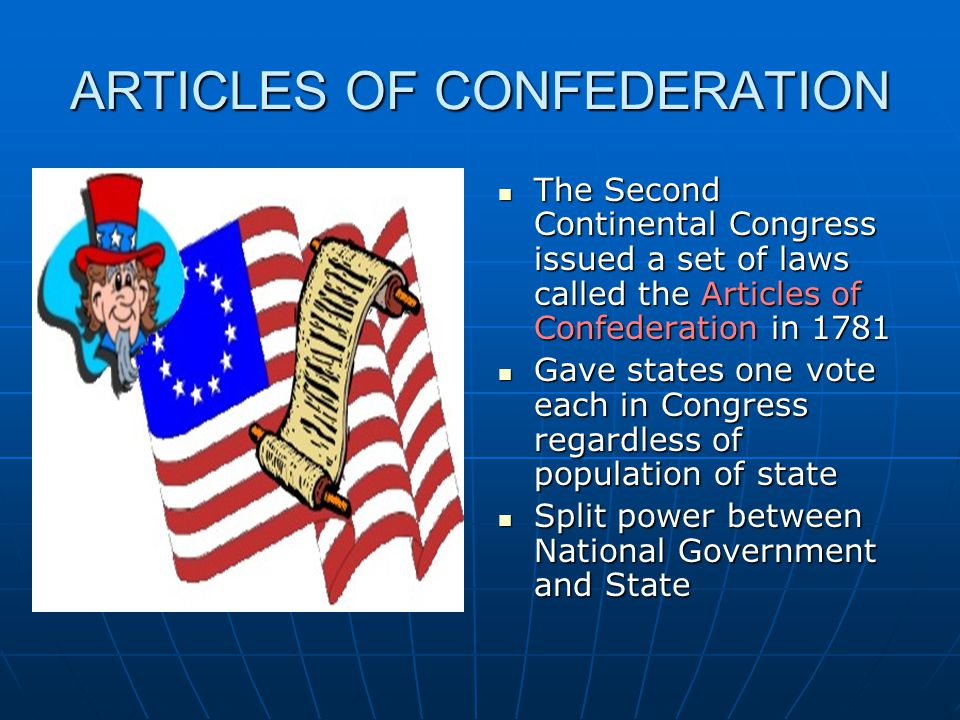 article of confederation Created on november 15, 1777, the articles of confederation was the united states' first constitution, which provided the rules for the operation of the us government.
