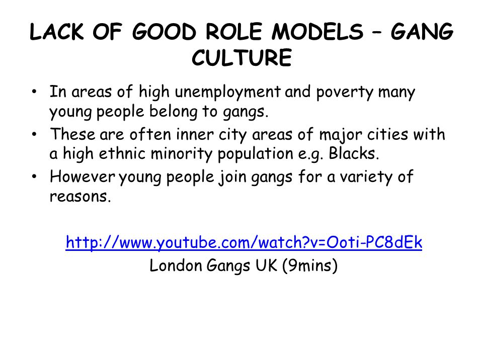 the reasons why young people join gangs Gangs and poverty the centre for street-based young people who see loss of personal responsibility and the anonymity which comes when people are in a large group which i think is a key reason people join gangs and groups because.