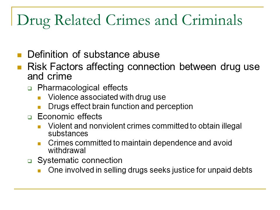 The correlation between drugs and drug using behavior to crime