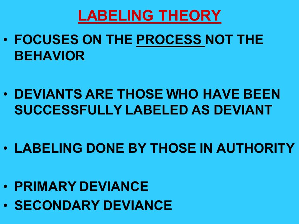 LABELING THEORY FOCUSES ON THE PROCESS NOT THE BEHAVIOR