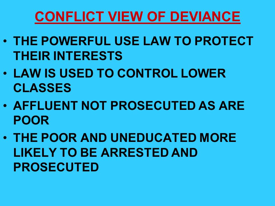 CONFLICT VIEW OF DEVIANCE