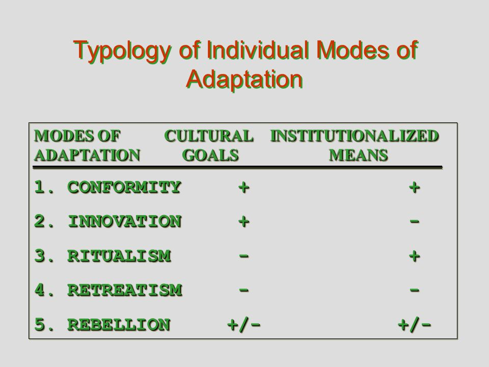 Typology of Individual Modes of Adaptation