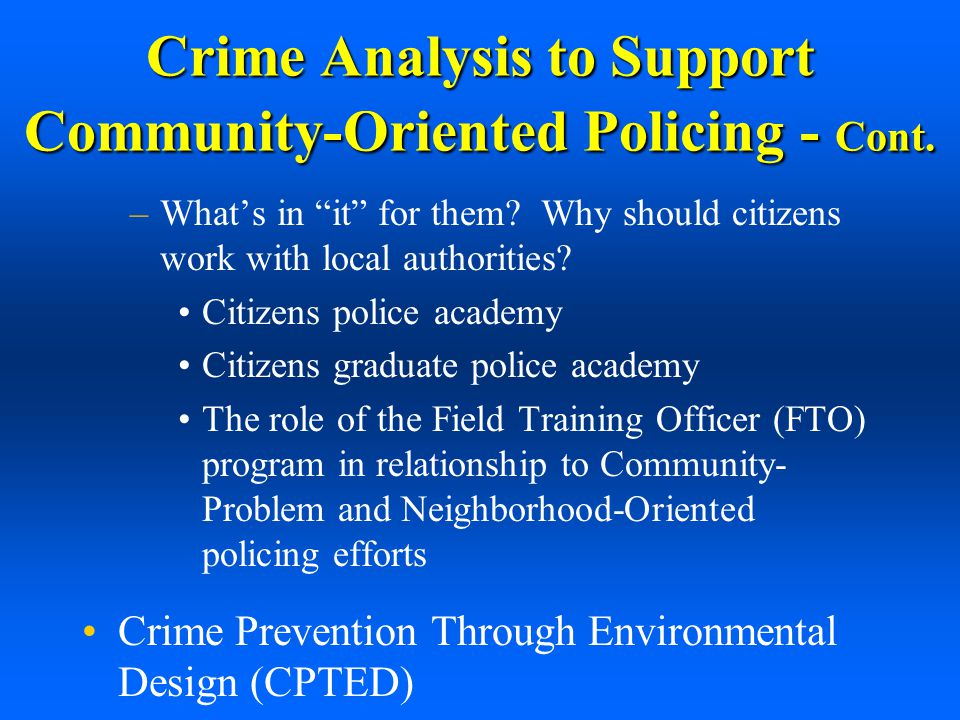 an analysis of community policing in america This chapter begins the examination of the steps involved in an  they also  enabled us to test the clarity of the community policing vision and agreement.
