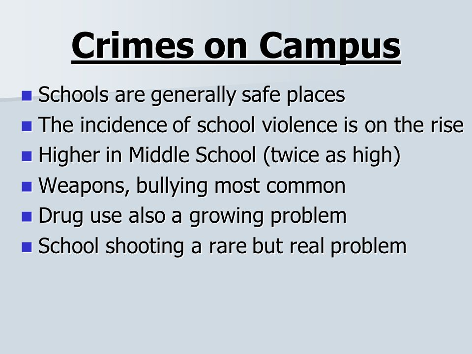 the problem of crime and violence in american schools Crime in schools and colleges is therefore one of the national center for education statistics notes that it is difficult to gauge the scope of crime and violence in schools without collecting data crime in the schools: a problem-solving approach.