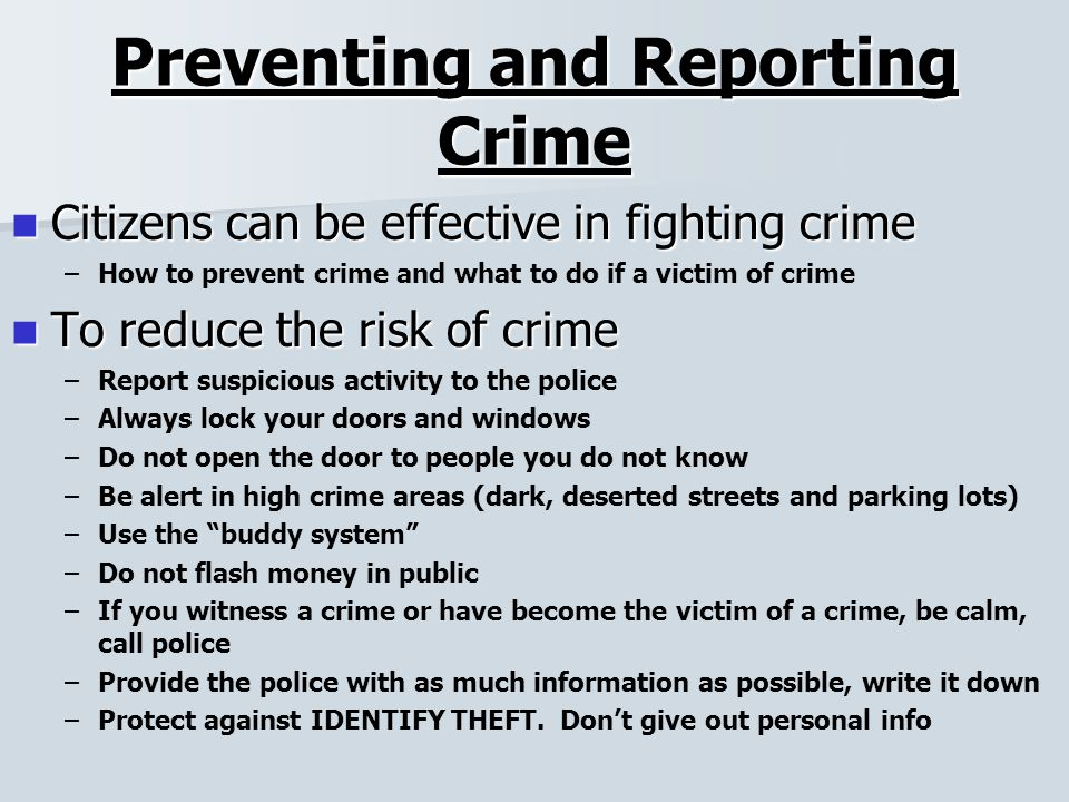 preventing crimes In 1992, cdc established the national center for injury prevention and control (ncipc) as the lead federal organization for violence prevention cdc is committed to stopping violence before it begins.