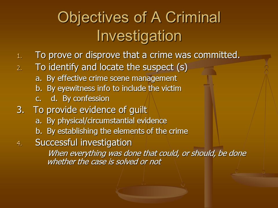 successful crime investigation Crime definition to obtain the resources needed for a successful investigation definitions of organized crime the definition of organized crime varies from agency to agency, from federal to state, and.