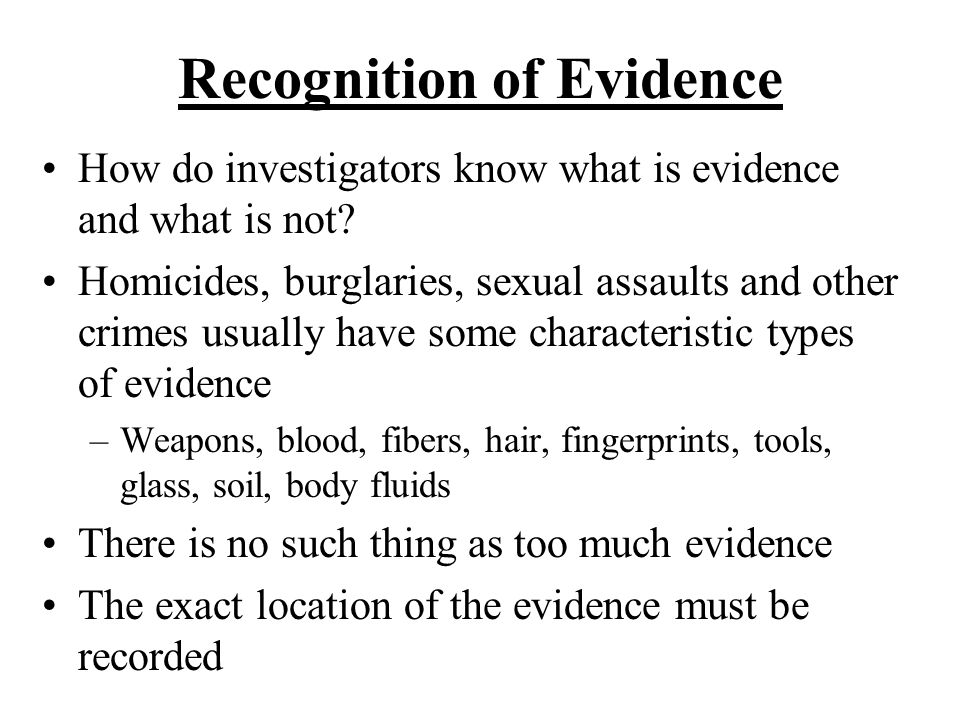 Recognition of Evidence