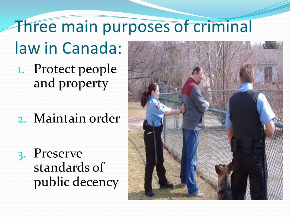 Three main purposes of criminal law in Canada: