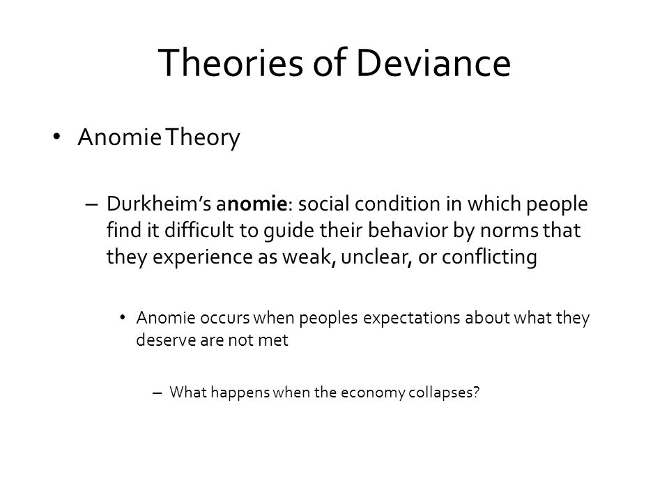 mertons theory of anomie girl gangs What causes crime: the strain theory durkheim's theory of anomie was the starting point for robert k merton's strain theory merton rejected durkheim's claims that strain resulted from a breakdown in societal structure.
