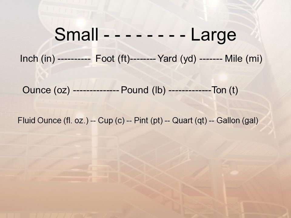 Small Large Inch (in) Foot (ft) Yard (yd) Mile (mi)