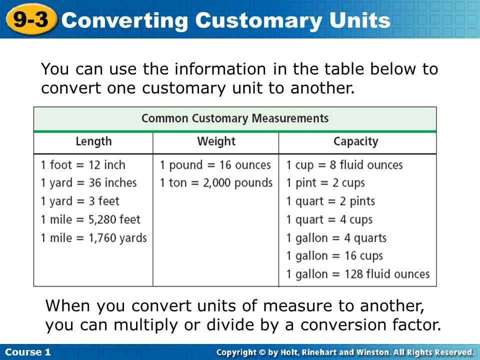 Converting customary units ppt video online download - Conversion table of weight units ...