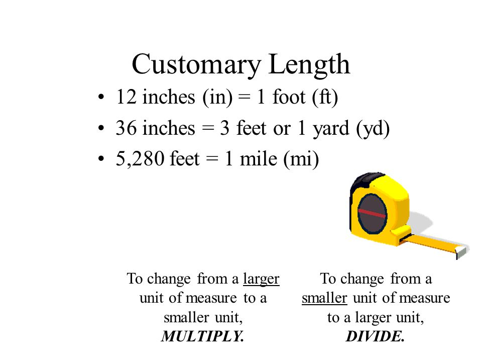 Customary Length 12 inches (in) = 1 foot (ft)