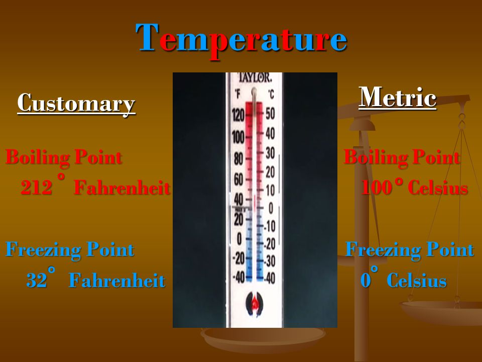 Temperature Metric Customary Boiling Point Boiling Point