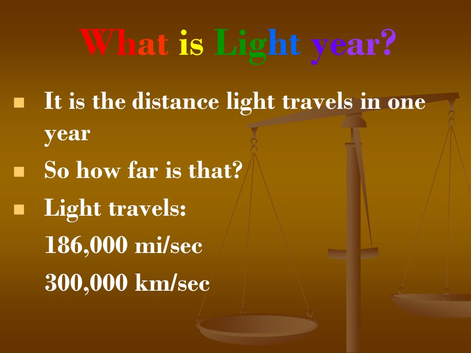 What is Light year It is the distance light travels in one year
