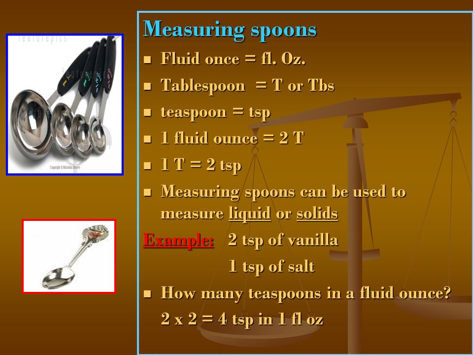 Measuring spoons Fluid once = fl. Oz. Tablespoon = T or Tbs