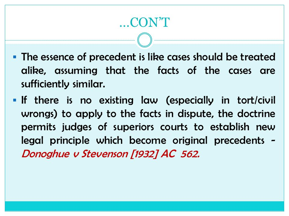 ratio decidendi of donoghue v stevenson Ratio decidendi : adjudicative rational and source of law abstract according to professor lücke, goodhart's 'material facts' theory of precedent is.