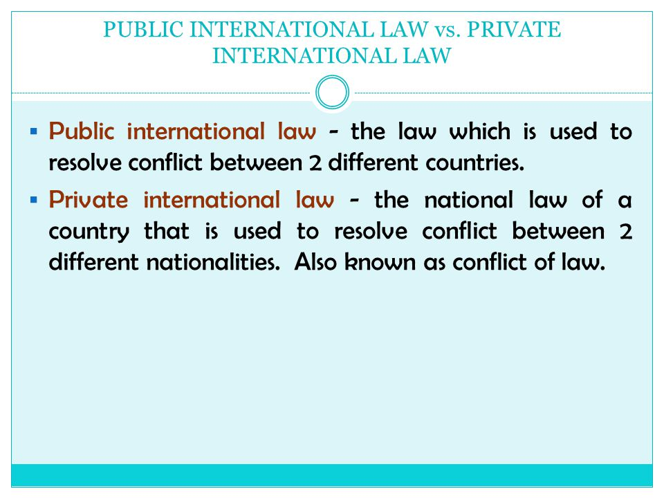 Private Law Versus Public Law