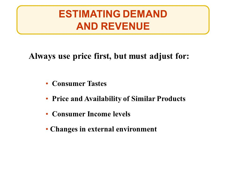ESTIMATING DEMAND AND REVENUE
