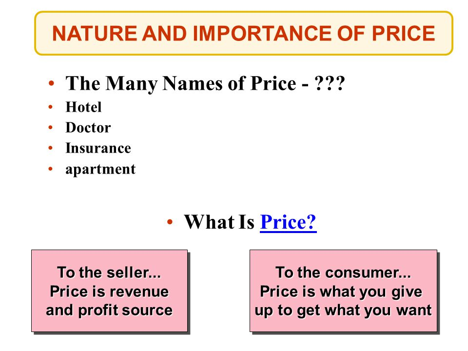 NATURE AND IMPORTANCE OF PRICE